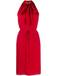 Theory Halter Scarf Dress Red