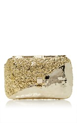 Anndra Neen Diagonal Melted Clutch Gold