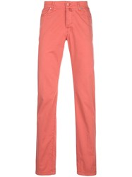 Kiton Plain Straight Leg Trousers Pink