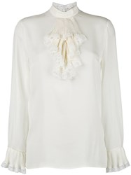 Gucci Georgette And Lace Trim Blouse White