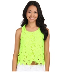 Gabriella Rocha Floral Embroidered Laser Cut Crop Top Neon Lemon Women's Clothing Yellow