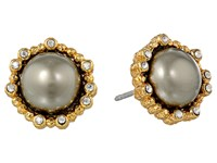 Alexis Bittar Crystal Studded Post W Shell Pearl Cabochon Gold Earring