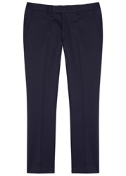 Oscar Jacobson Diego Navy Slim Leg Stretch Cotton Trousers