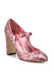 Dolce And Gabbana Sequin Mary Jane Block Heel Pumps Black Silver Rose