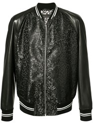 Alexander Mcqueen Leather Panelled Bomber Jacket Black