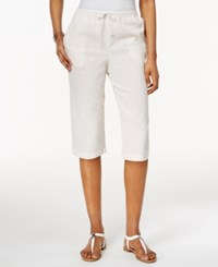 Karen Scott Petite Drawstring Seersucker Capri Pants Only At Macy's New Khaki