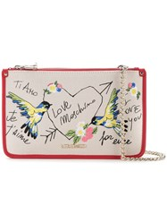 Love Moschino Bird Embroidered Crossbody Bag Women Cotton Linen Flax Polyurethane One Size