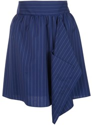 Maison Rabih Kayrouz Pinstriped Skirt Blue