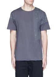 By Walid Lace Panel T Shirt Grey