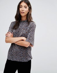 B.Young Leopard Print Plise Top Grey