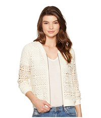 Bb Dakota Manuel Crochet Lace Bomber Ivory Women's Coat White