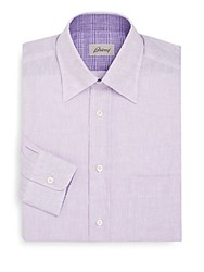Brioni Fitted Linen Dress Shirt Light Violet