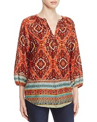 Beachlunchlounge Helena Tribal Border Print Blouse 100 Bloomingdale's Exclusive Amber