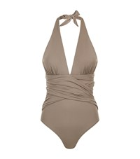 Lazul Plunge Ruched Swimsuit Beige
