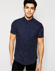 Brave Soul Small Spot Short Sleeve Shirt Blue