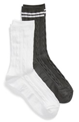Treasure And Bond Soft Shine 2 Pack Crew Socks Grey Castle Rock Multi