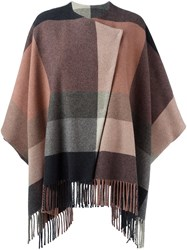 Etro Fringed Poncho Pink And Purple