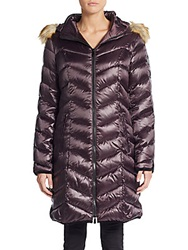 Dawn Levy Abilene Faux Fur Trimmed Down Puffer Coat Eggplant