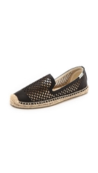 Soludos Perforated Leather Smoking Slippers Black