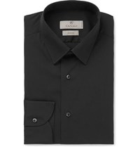 Canali Black Slim Fit Stretch Cotton Blend Poplin Shirt Black