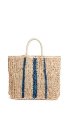 Hat Attack Row Stripe Bag Natural Blue