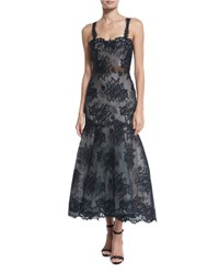Monique Lhuillier Sleeveless Illusion Lace Trumpet Dress Black White Black White