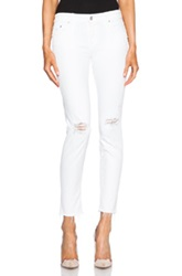 Mother Looker Ankle Fray In White