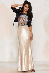 Nasty Gal Sea Of Gold Sequin Maxi Skirt