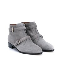 Tabitha Simmons Windle Buckled Suede Booties Grey Almond Silver Cool Grey Black