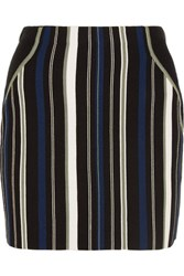 3.1 Phillip Lim Striped Stretch Cotton Blend Mini Skirt Black
