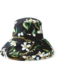 Dolce And Gabbana Orange Blossom Print Cloche Hat Black