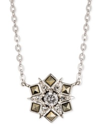 Judith Jack Sterling Silver Crystal And Marcasite Snowflake Pendant Necklace