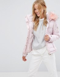 Pimkie Padded Coat With Faux Fur Hood Pink