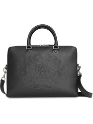 Burberry Embossed Crest Leather Briefcase Black