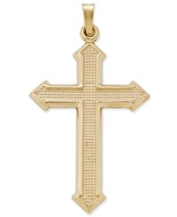 Macy's Decorative Textured Cross Pendant In 14K Gold Yellow Gold