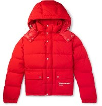 Off White Printed Quilted Shell Hooded Down Jacket Red