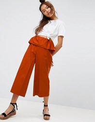 Asos Wide Leg Trousers With Ruffle Waist Rust Red