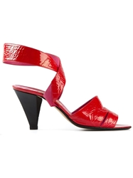 Casadei Vintage Crossover Straps Sandals Red
