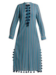 Figue Paolina Striped Tassel Trimmed Dress Blue Stripe