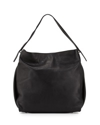 Neiman Marcus Made In Italy Pebbled Leather Bucket Hobo Bag Black