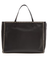 Valentino Rockstud Untitled 12 Leather Tote Black