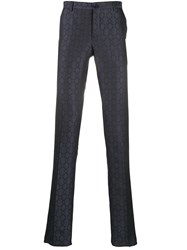 Etro Pattern Embroidered Trousers Blue