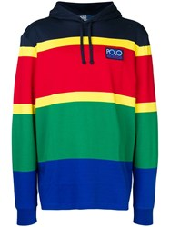 Polo Ralph Lauren Panelled Colour Block Hoodie Red