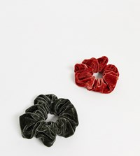 Accessorize Scrunchies 2 Pack In Green And Red Multi