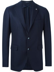 Tagliatore Textured Two Button Blazer Blue