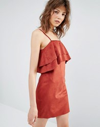 Mango Ruffle Cami Dress Pink Red