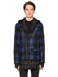 Diesel Black Gold Plaid Wool Cloth And Nylon Biker Jacket