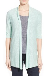 Women's Eileen Fisher Organic Linen And Cotton Elbow Sleeve Straight Cardigan Green Mint