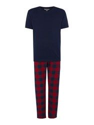 Howick Red Check With Navy Tee Pyjama Set