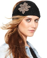 David And Young Flower Applique Headband Black